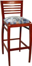 Arcadia Wooden High Stool with Upholstered Seat in Mahogany